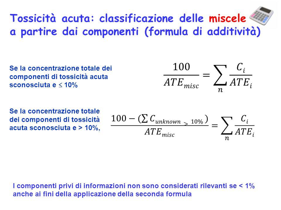 Se la concentrazione totale dei componenti di tossicità acuta sconosciuta e 10% Se la concentrazione totale dei componenti di tossicità acuta sconosci