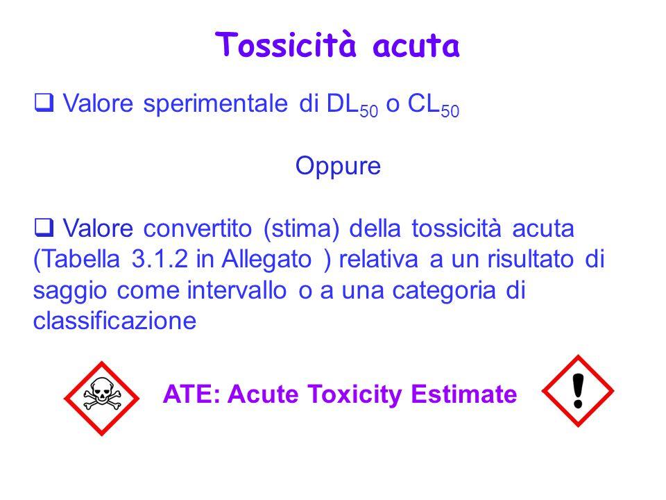 Valore sperimentale di DL 50 o CL 50 Oppure Valore convertito (stima) della tossicità acuta (Tabella 3.1.2 in Allegato ) relativa a un risultato di sa
