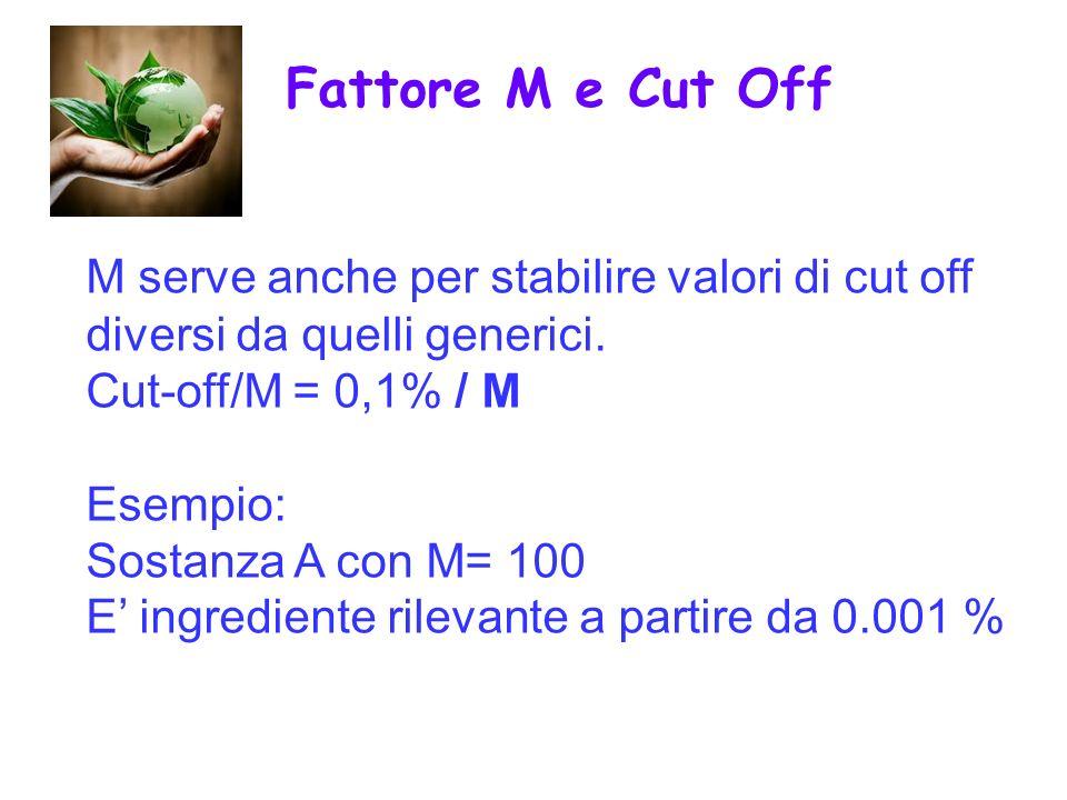 M serve anche per stabilire valori di cut off diversi da quelli generici. Cut-off/M = 0,1% / M Esempio: Sostanza A con M= 100 E ingrediente rilevante