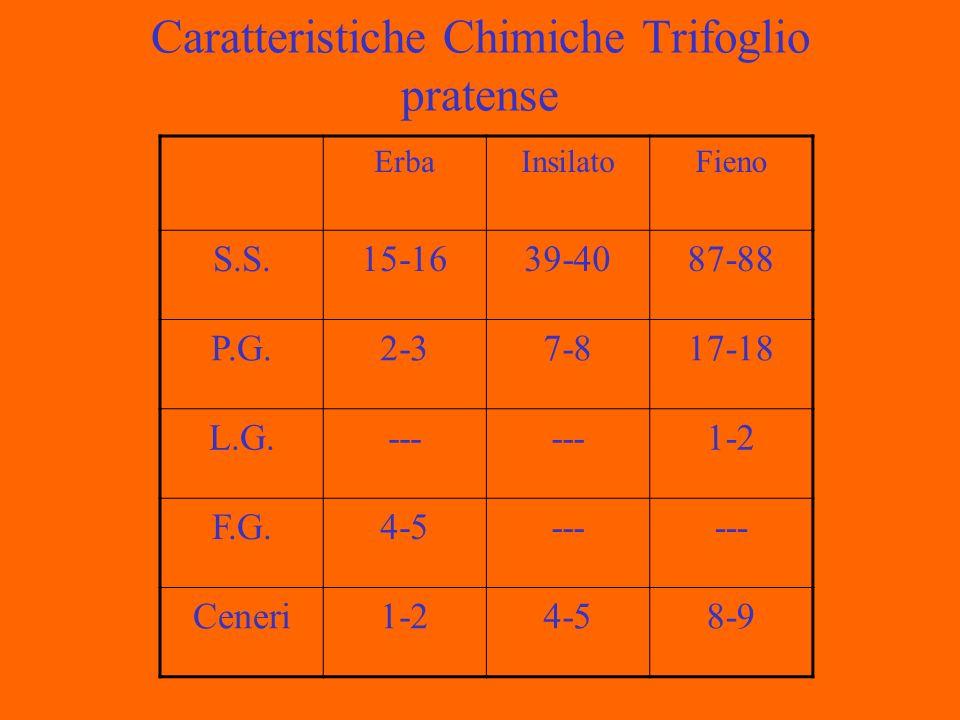 Caratteristiche Chimiche Trifoglio pratense ErbaInsilatoFieno S.S.15-1639-4087-88 P.G.2-37-817-18 L.G.--- 1-2 F.G.4-5--- Ceneri1-24-58-9