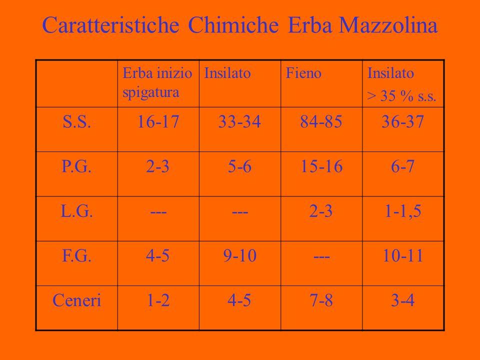 Caratteristiche Chimiche Erba Mazzolina Erba inizio spigatura InsilatoFienoInsilato > 35 % s.s.