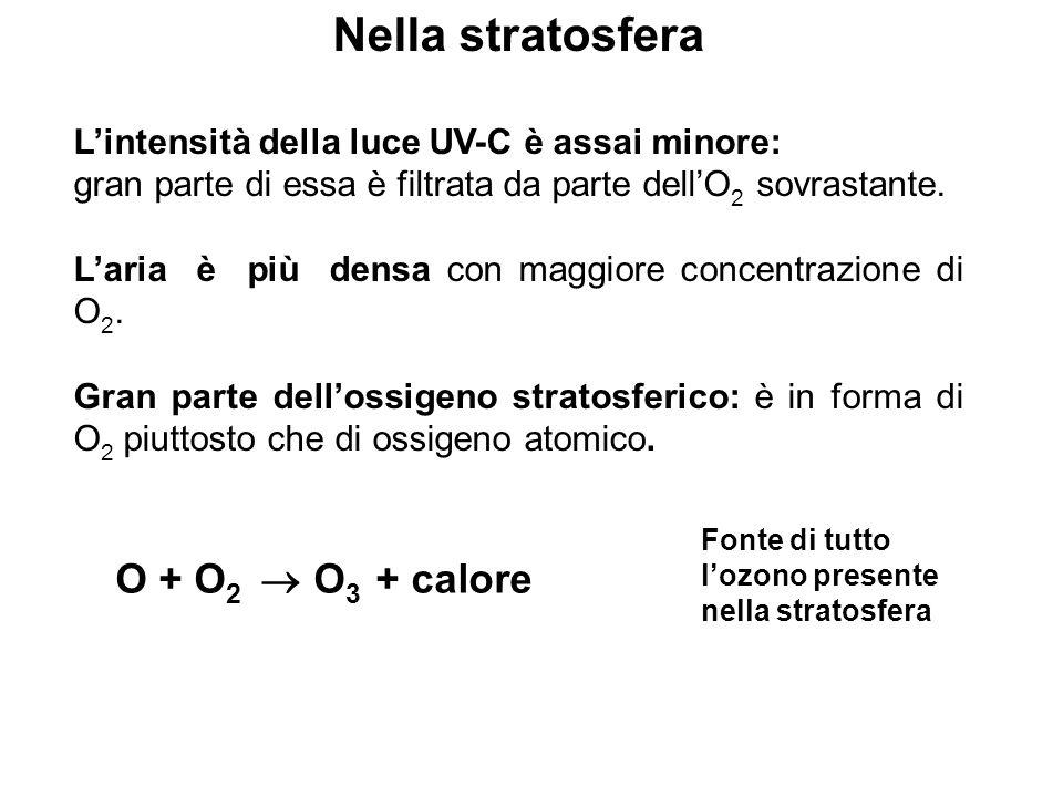 Nella stratosfera Lintensità della luce UV-C è assai minore: gran parte di essa è filtrata da parte dellO 2 sovrastante. Laria è più densa con maggior