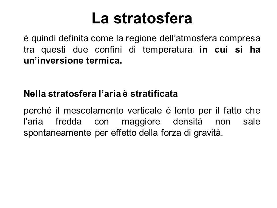 La stratosfera è quindi definita come la regione dellatmosfera compresa tra questi due confini di temperatura in cui si ha uninversione termica. Nella