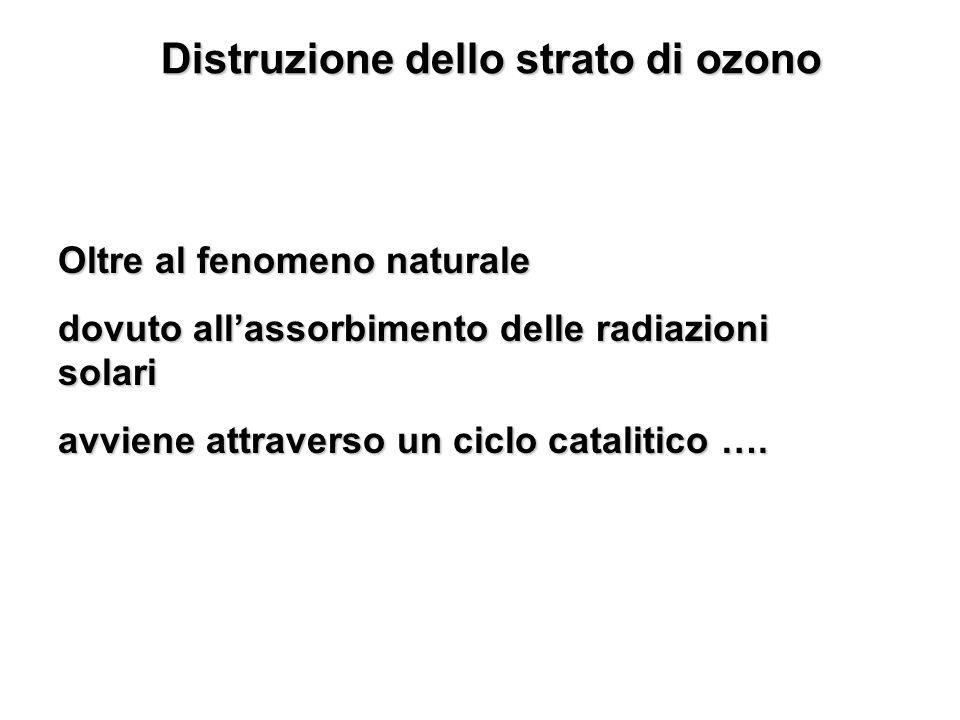 Distruzione dello strato di ozono Oltre al fenomeno naturale dovuto allassorbimento delle radiazioni solari avviene attraverso un ciclo catalitico ….