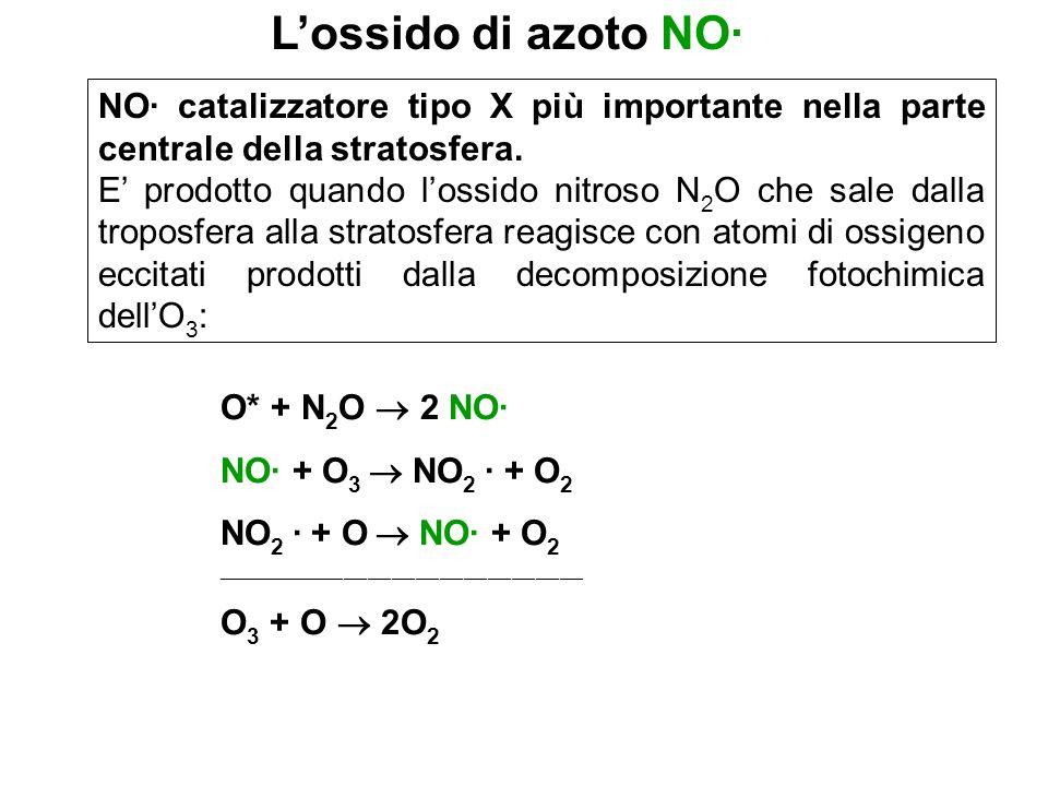 NO· catalizzatore tipo X più importante nella parte centrale della stratosfera. E prodotto quando lossido nitroso N 2 O che sale dalla troposfera alla