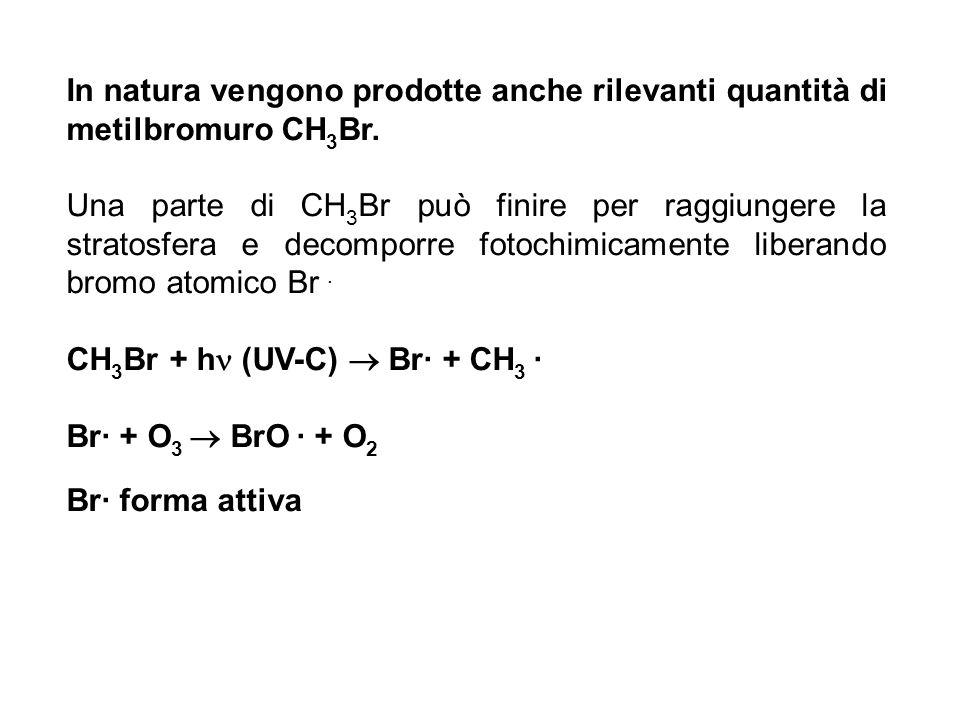In natura vengono prodotte anche rilevanti quantità di metilbromuro CH 3 Br. Una parte di CH 3 Br può finire per raggiungere la stratosfera e decompor