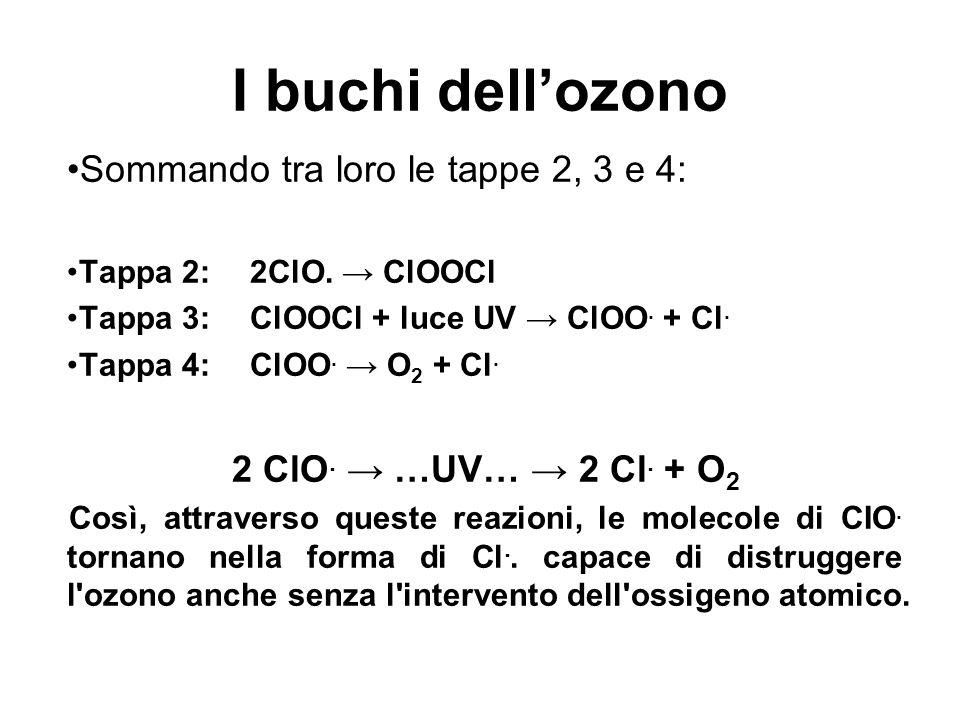 I buchi dellozono Sommando tra loro le tappe 2, 3 e 4: Tappa 2: 2ClO. ClOOCl Tappa 3: ClOOCl + luce UV ClOO. + Cl. Tappa 4: ClOO. O 2 + Cl. 2 ClO. …UV