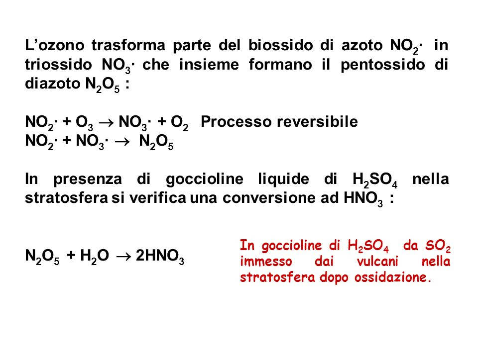 Lozono trasforma parte del biossido di azoto NO 2 · in triossido NO 3 · che insieme formano il pentossido di diazoto N 2 O 5 : NO 2 · + O 3 NO 3 · + O