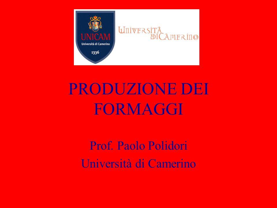 PRODUZIONE DEI FORMAGGI Prof. Paolo Polidori Università di Camerino