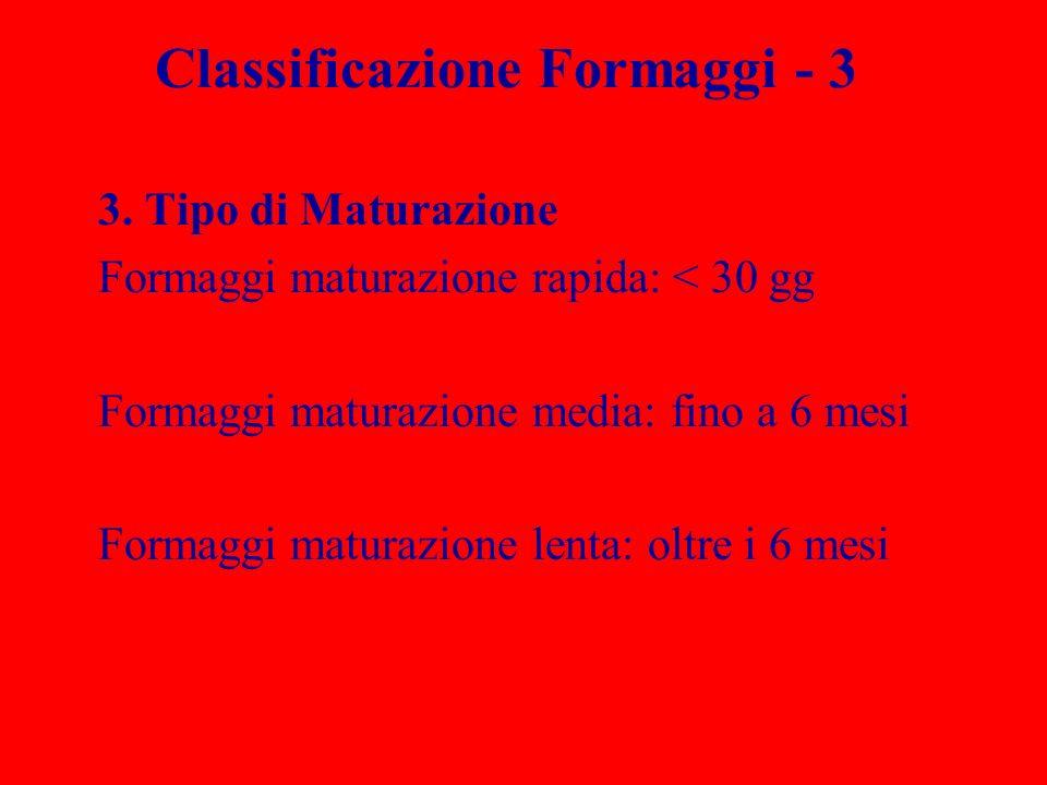Classificazione Formaggi - 3 3. Tipo di Maturazione Formaggi maturazione rapida: < 30 gg Formaggi maturazione media: fino a 6 mesi Formaggi maturazion
