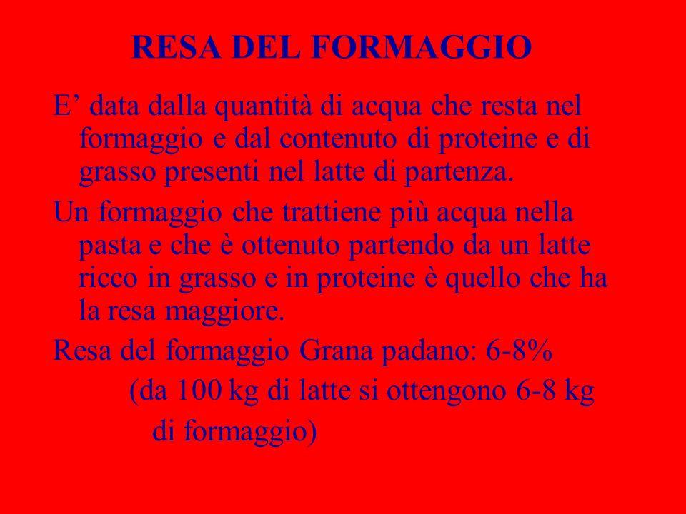 RESA DEL FORMAGGIO E data dalla quantità di acqua che resta nel formaggio e dal contenuto di proteine e di grasso presenti nel latte di partenza. Un f
