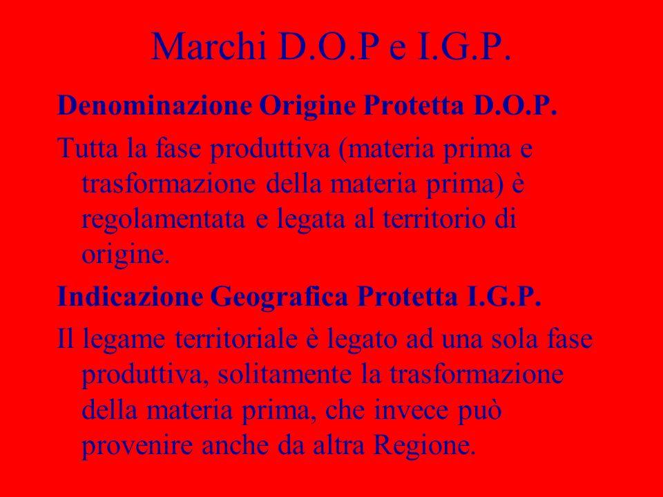 Marchi D.O.P e I.G.P. Denominazione Origine Protetta D.O.P. Tutta la fase produttiva (materia prima e trasformazione della materia prima) è regolament