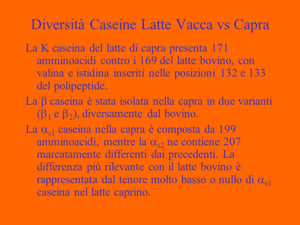 Diversità Caseine Latte Vacca vs Capra La K caseina del latte di capra presenta 171 amminoacidi contro i 169 del latte bovino, con valina e istidina inseriti nelle posizioni 132 e 133 del polipeptide.