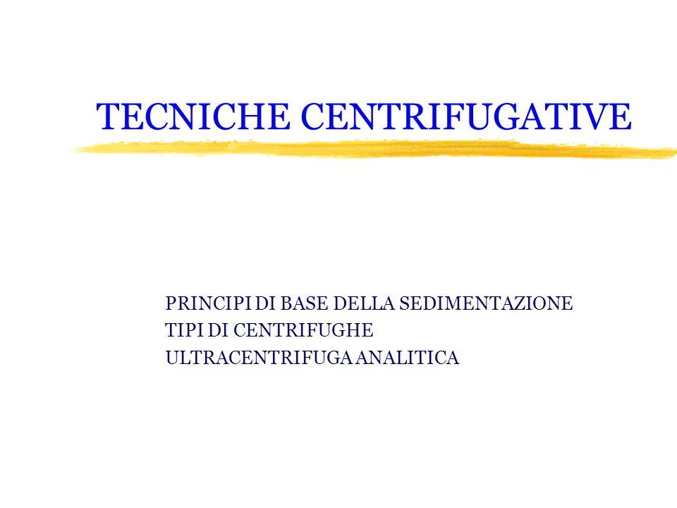 TECNICHE CENTRIFUGATIVE PRINCIPI DI BASE DELLA SEDIMENTAZIONE TIPI DI CENTRIFUGHE ULTRACENTRIFUGA ANALITICA