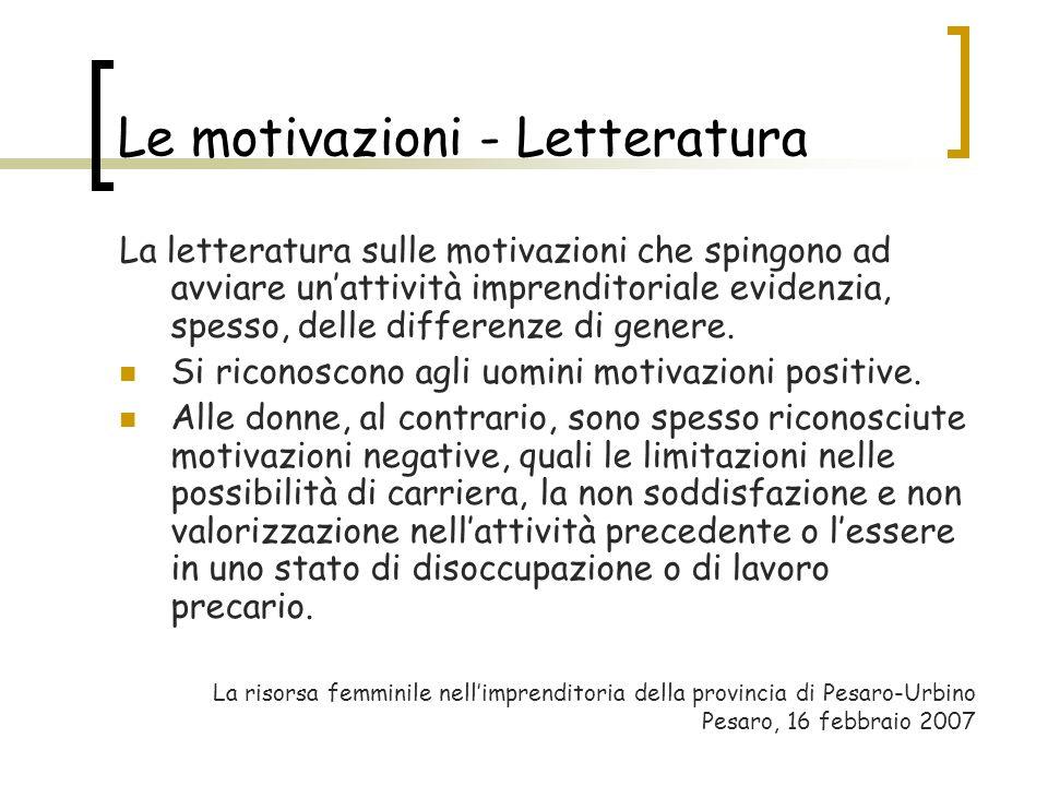 Le motivazioni - Letteratura La letteratura sulle motivazioni che spingono ad avviare unattività imprenditoriale evidenzia, spesso, delle differenze d