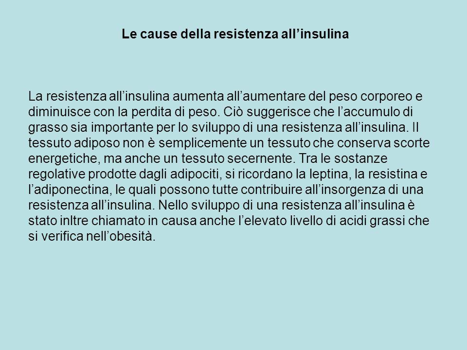 Le cause della resistenza allinsulina La resistenza allinsulina aumenta allaumentare del peso corporeo e diminuisce con la perdita di peso. Ciò sugger