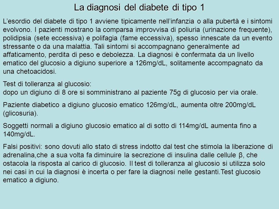 La diagnosi del diabete di tipo 1 Lesordio del diabete di tipo 1 avviene tipicamente nellinfanzia o alla pubertà e i sintomi evolvono. I pazienti most
