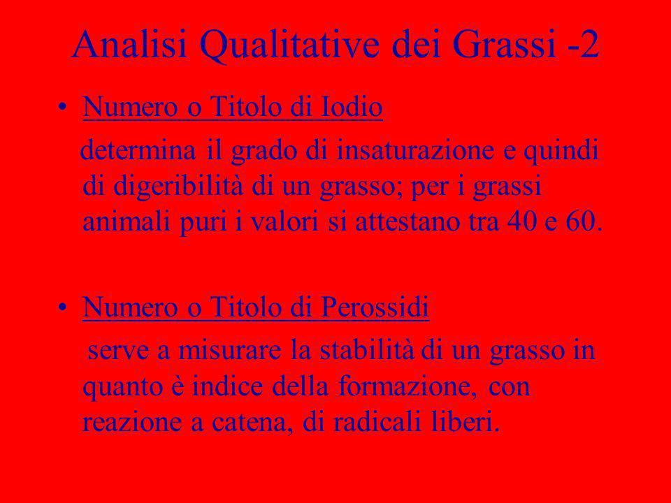 Analisi Qualitative dei Grassi -2 Numero o Titolo di Iodio determina il grado di insaturazione e quindi di digeribilità di un grasso; per i grassi ani