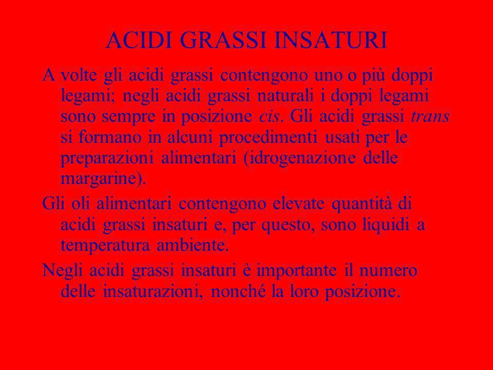 ACIDI GRASSI INSATURI A volte gli acidi grassi contengono uno o più doppi legami; negli acidi grassi naturali i doppi legami sono sempre in posizione