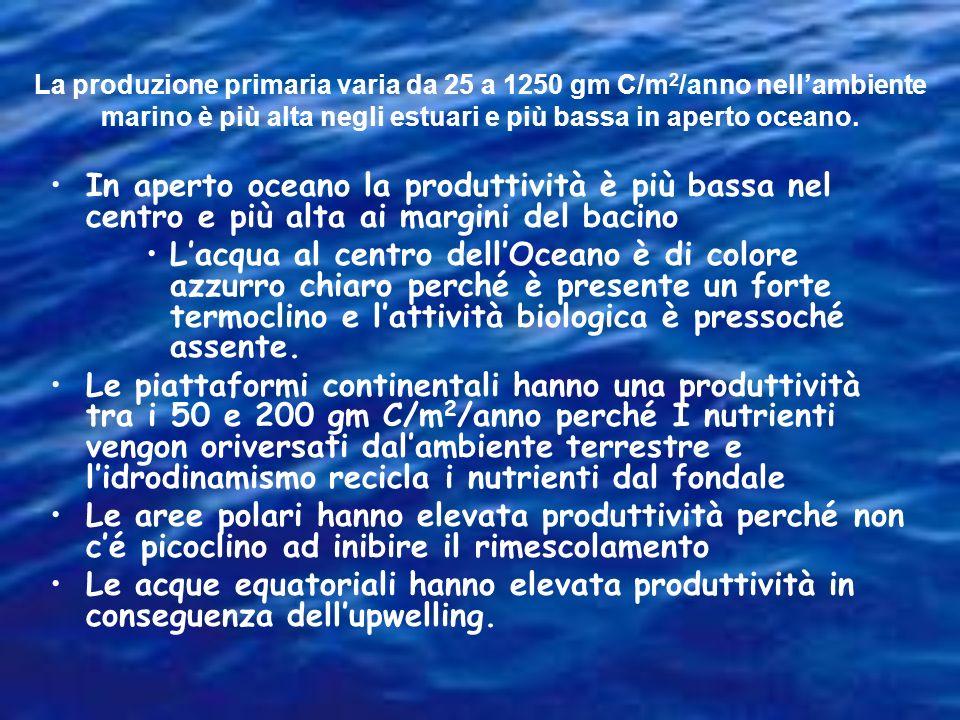 GF ALGMMASOND Nei mari polari, esiste una elevata concentrazione di nutrienti ma scarsa biomassa fotosintetica e produzione primaria. I fattori limita