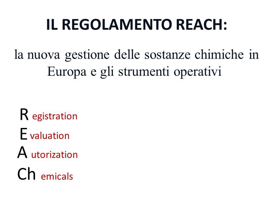 IL REGOLAMENTO REACH: la nuova gestione delle sostanze chimiche in Europa e gli strumenti operativi R egistration E A Ch valuation utorization emicals