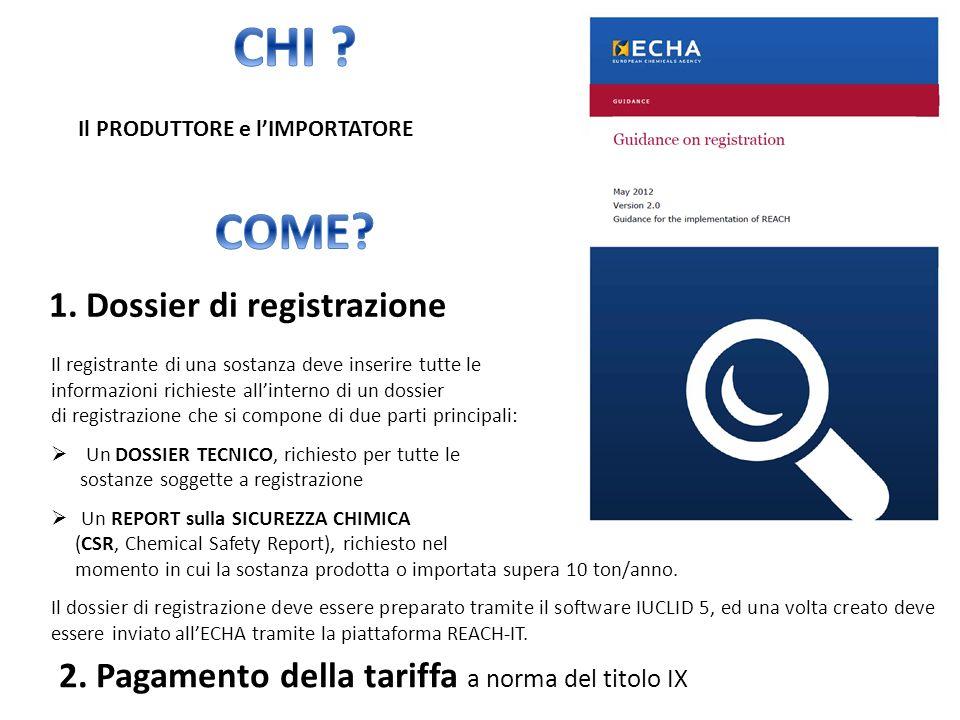 1. Dossier di registrazione Il registrante di una sostanza deve inserire tutte le informazioni richieste allinterno di un dossier di registrazione che