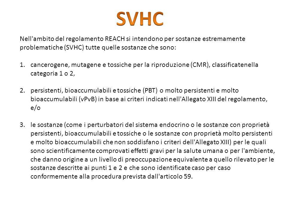 Nell'ambito del regolamento REACH si intendono per sostanze estremamente problematiche (SVHC) tutte quelle sostanze che sono: 1.cancerogene, mutagene