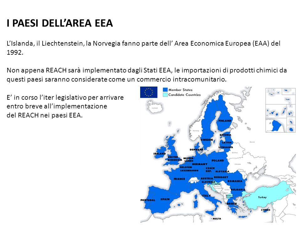 I PAESI DELLAREA EEA LIslanda, il Liechtenstein, la Norvegia fanno parte dell Area Economica Europea (EAA) del 1992. Non appena REACH sarà implementat