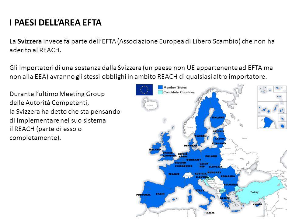 I PAESI DELLAREA EFTA La Svizzera invece fa parte dellEFTA (Associazione Europea di Libero Scambio) che non ha aderito al REACH. Gli importatori di un