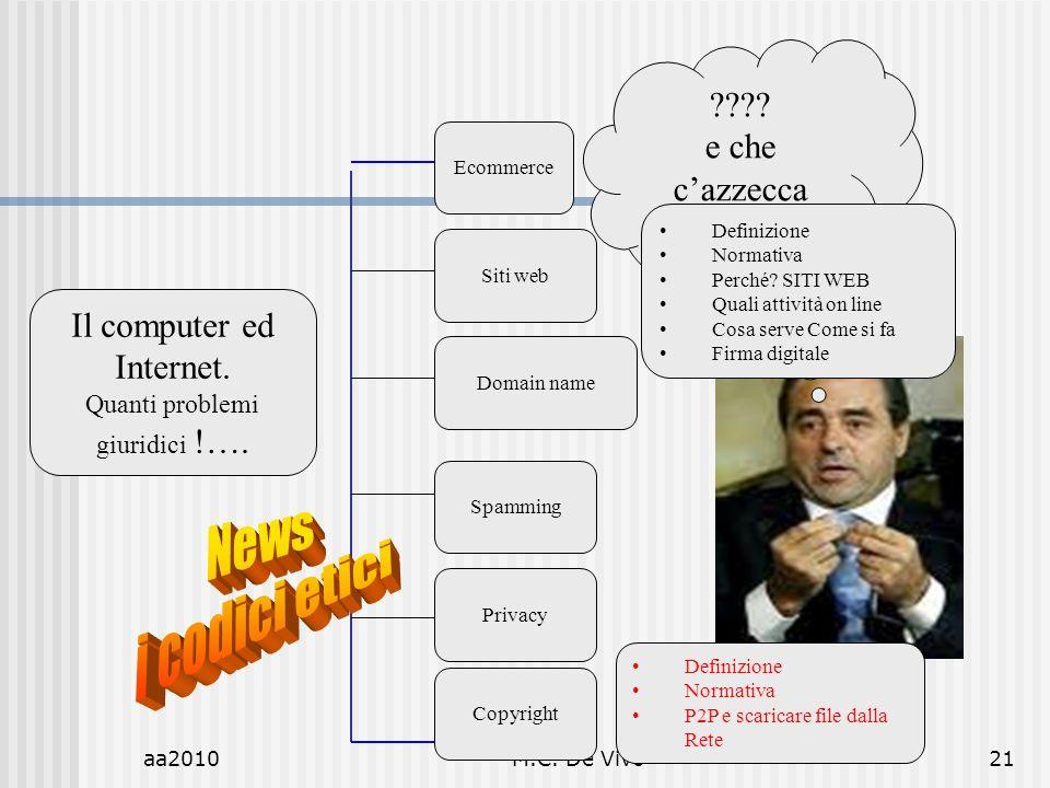 aa2010M.C. De Vivo21 Il computer ed Internet. Quanti problemi giuridici !….
