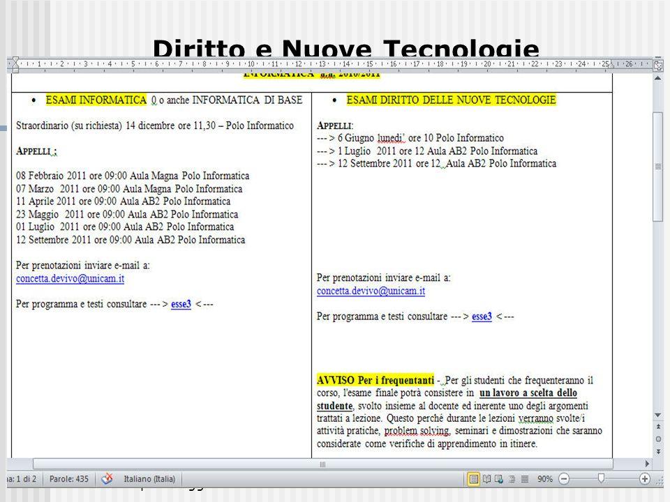 MarzoAprileMaggio 2011M.C. De Vivo4 Diritto e Nuove Tecnologie www.unicam.it 1.Offerta formativa