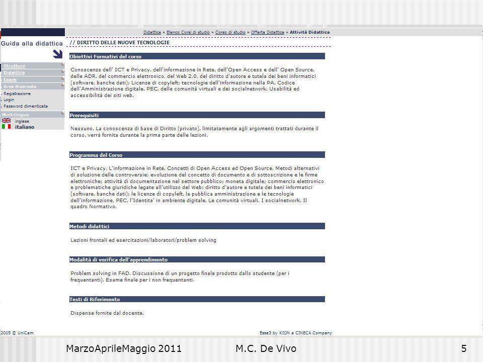MarzoAprileMaggio 2011M.C. De Vivo6 Diritto e Nuove Tecnologie