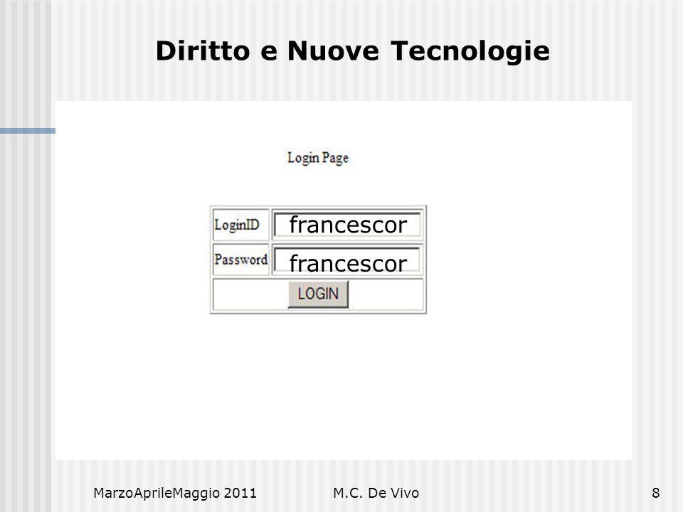 MarzoAprileMaggio 2011M.C. De Vivo8 Diritto e Nuove Tecnologie francescor