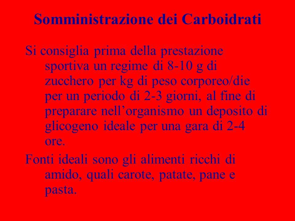 Somministrazione dei Carboidrati Si consiglia prima della prestazione sportiva un regime di 8-10 g di zucchero per kg di peso corporeo/die per un peri