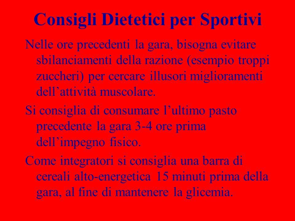 Consigli Dietetici per Sportivi Nelle ore precedenti la gara, bisogna evitare sbilanciamenti della razione (esempio troppi zuccheri) per cercare illus