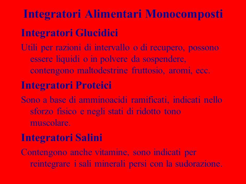 Integratori Alimentari Monocomposti Integratori Glucidici Utili per razioni di intervallo o di recupero, possono essere liquidi o in polvere da sospen