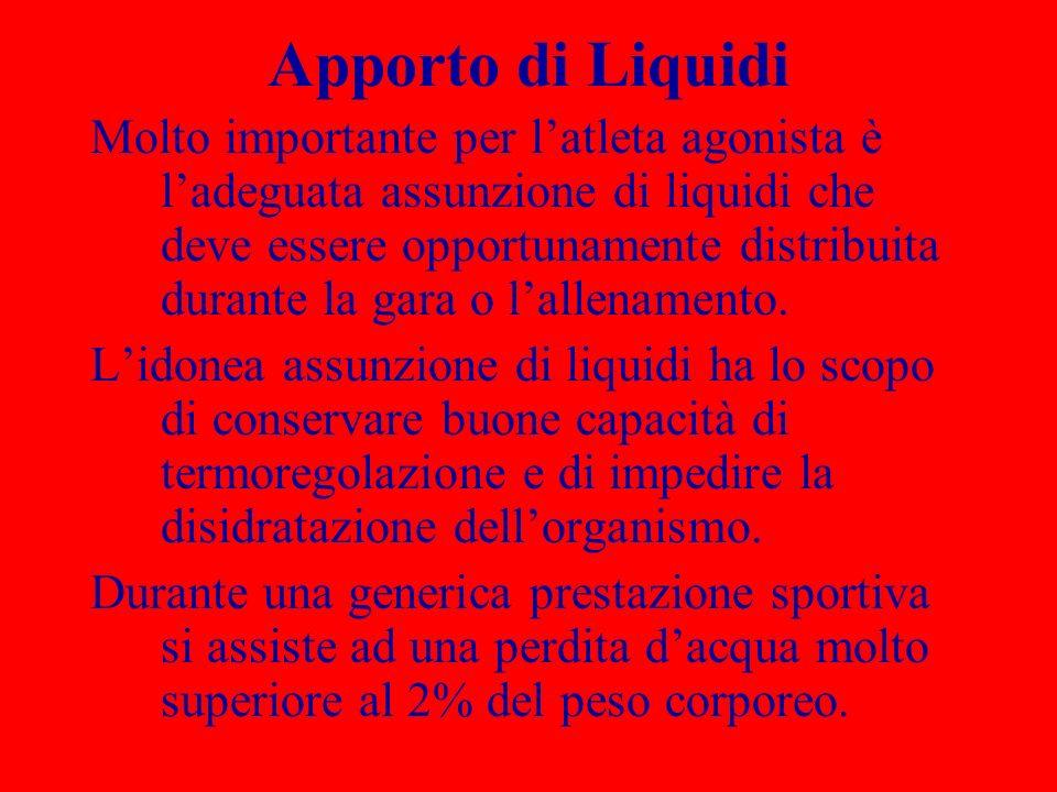 Apporto di Liquidi Molto importante per latleta agonista è ladeguata assunzione di liquidi che deve essere opportunamente distribuita durante la gara