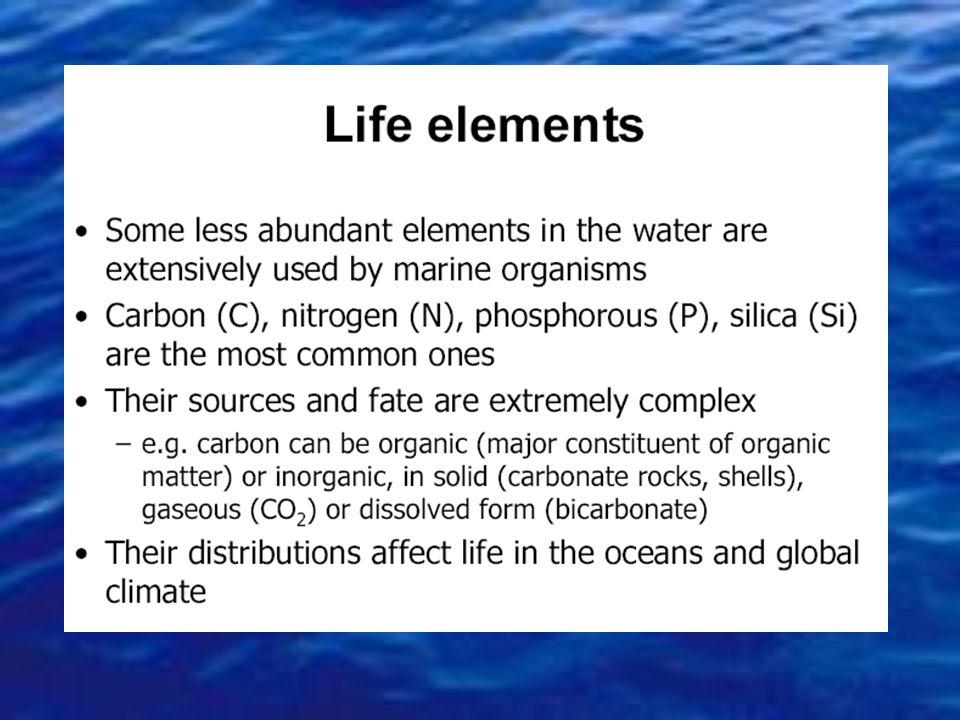 La salinità indica il contenuto grammi di sali disciolti per Kg di acqua di mare Costituente GRAMMI/LITRO Sodio (Na) Magnesio (Mg) Calcio (Ca) Potassi