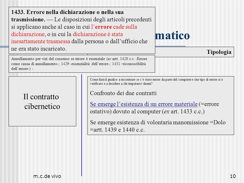 m.c.de vivo10 Il contratto telematico Tipologia Il contratto cibernetico Come farà il giudice a riscontrare se cè stato errore da parte del computer e