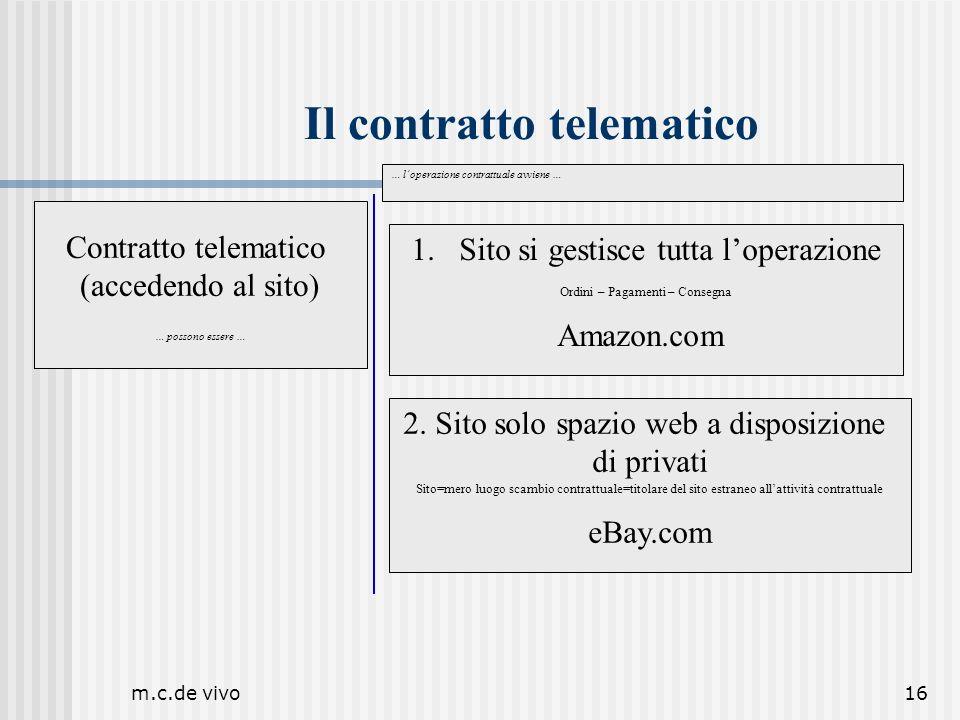 m.c.de vivo16 Il contratto telematico Contratto telematico (accedendo al sito) … possono essere … 1.Sito si gestisce tutta loperazione Ordini – Pagame