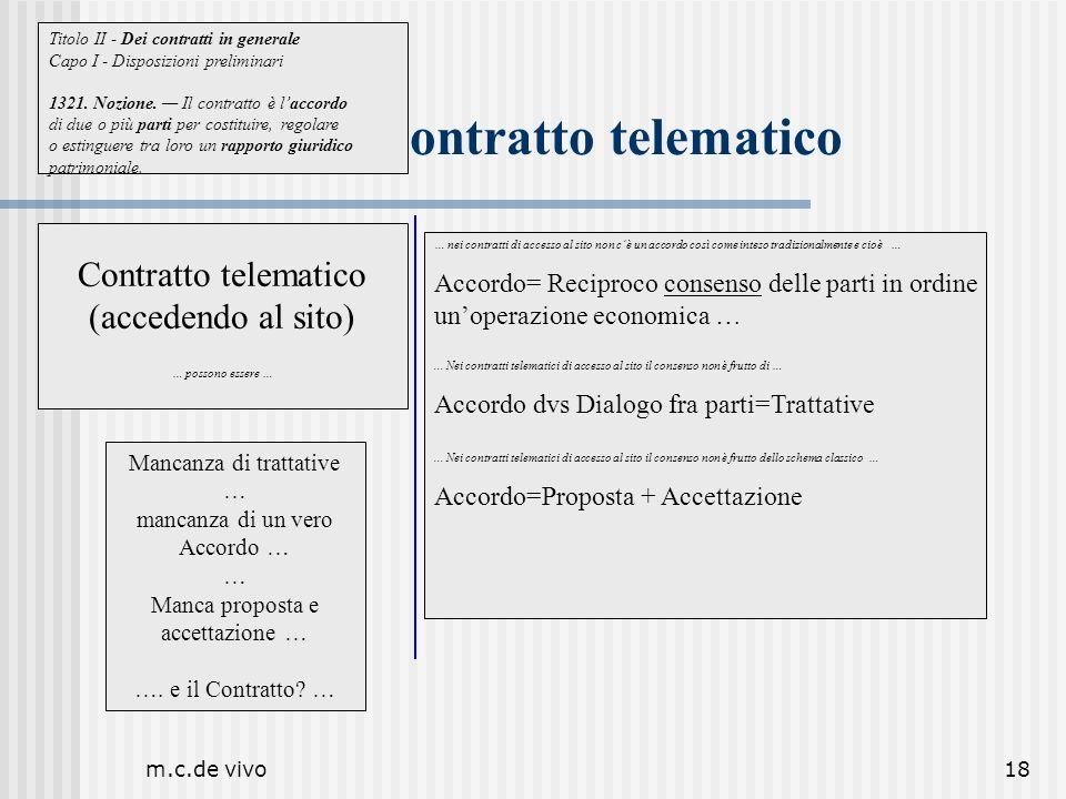 m.c.de vivo18 Il contratto telematico … nei contratti di accesso al sito non cè un accordo così come inteso tradizionalmente e cioè … Accordo= Recipro