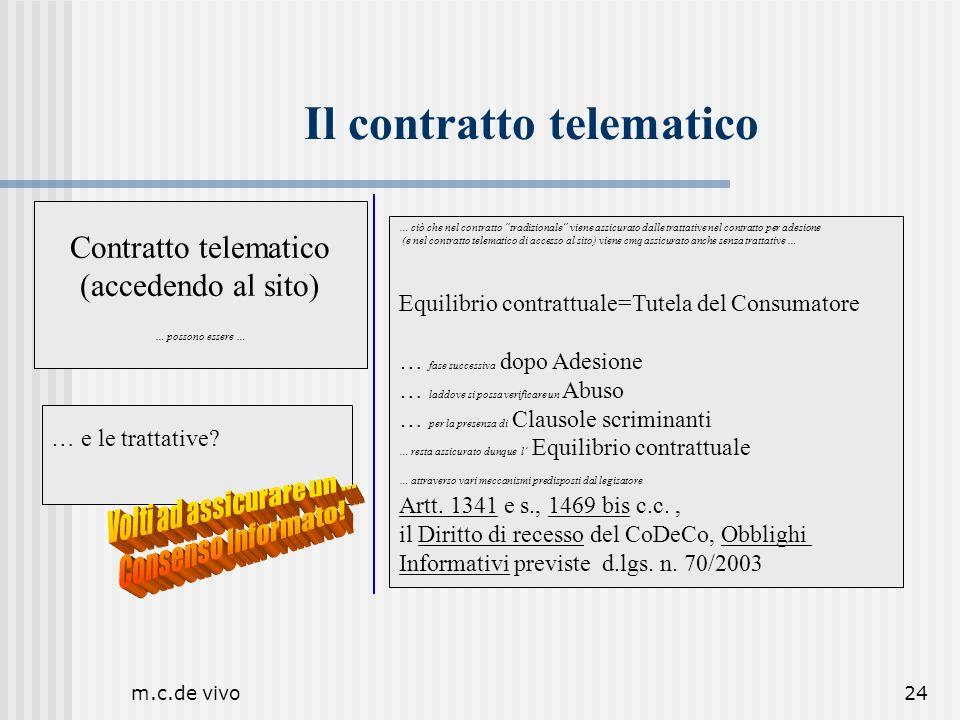 m.c.de vivo24 Il contratto telematico … e le trattative? … ciò che nel contratto tradizionale viene assicurato dalle trattative nel contratto per ades