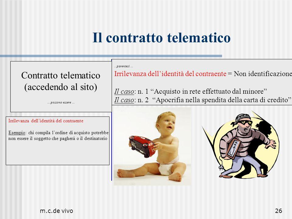 m.c.de vivo26 Il contratto telematico.. parentesi … Irrilevanza dellidentità del contraente = Non identificazione Il caso: n. 1 Acquisto in rete effet