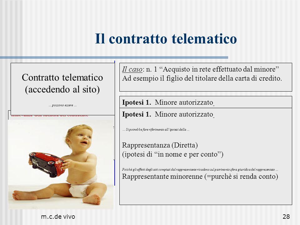 m.c.de vivo28 Il contratto telematico Il caso: n. 1 Acquisto in rete effettuato dal minore Ad esempio il figlio del titolare della carta di credito. I