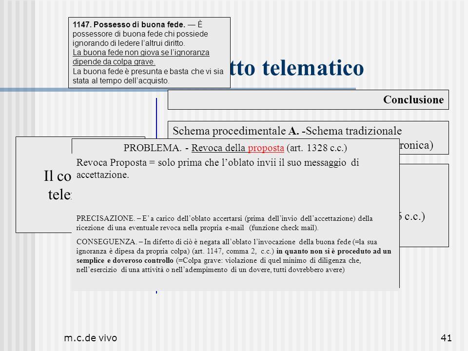 m.c.de vivo41 Il contratto telematico Conclusione Il contratto telematico Schema procedimentale A. -Schema tradizionale PROPOSTA-ACCETTAZIONE (per pos