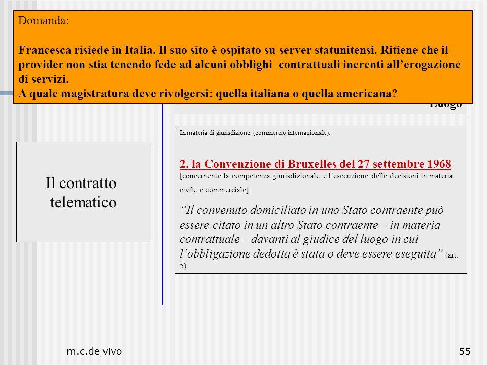 m.c.de vivo55 Il contratto telematico Luogo Il contratto telematico In materia di giurisdizione (commercio internazionale): 2. la Convenzione di Bruxe