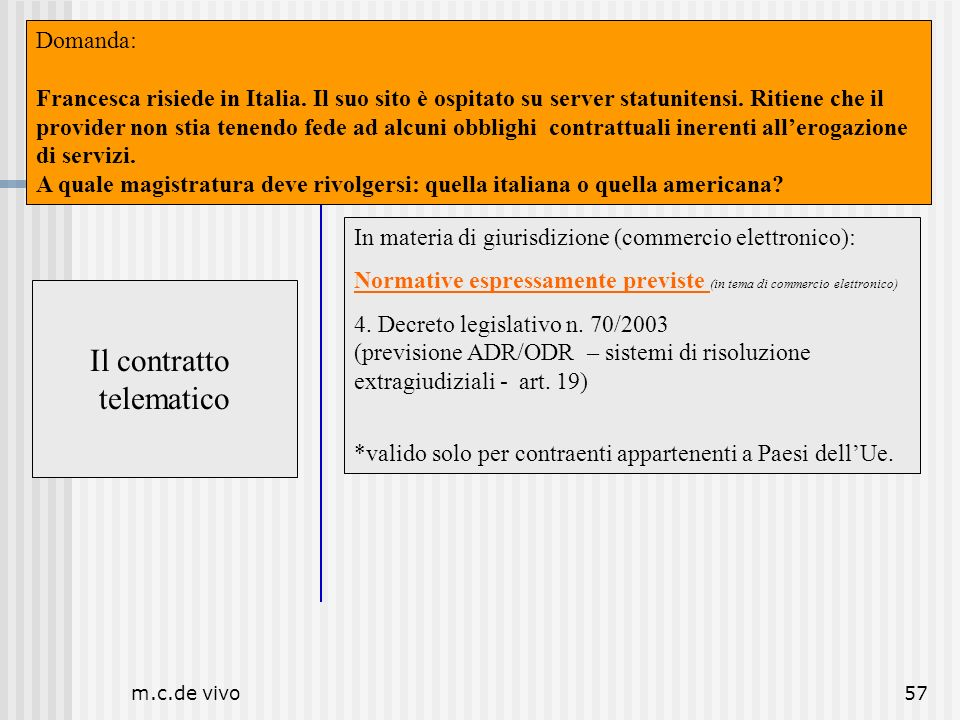 m.c.de vivo57 Il contratto telematico Luogo Il contratto telematico In materia di giurisdizione (commercio elettronico): Normative espressamente previ