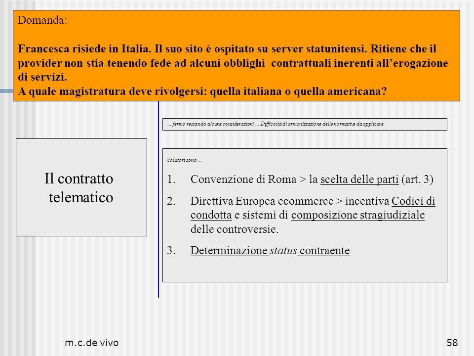 m.c.de vivo58 Il contratto telematico Luogo Il contratto telematico … fermo restando alcune considerazioni … Difficoltà di armonizzazione delle normat