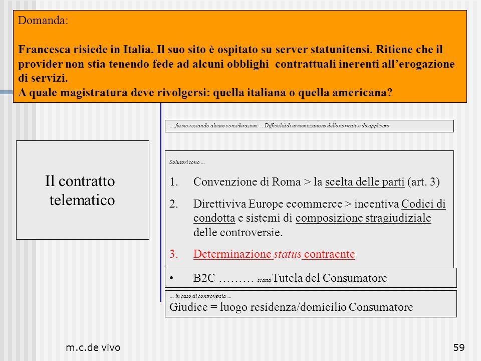 m.c.de vivo59 Il contratto telematico Luogo Il contratto telematico … fermo restando alcune considerazioni … Difficoltà di armonizzazione delle normat