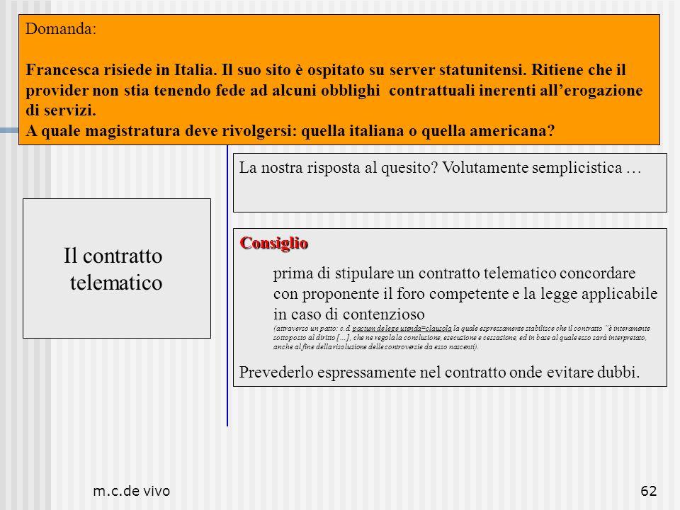 m.c.de vivo62 Il contratto telematico Luogo Il contratto telematico La nostra risposta al quesito? Volutamente semplicistica … Consiglio prima di stip